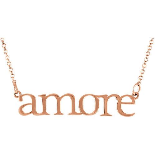 """14K Rose Gold """"Amore"""" 16.25"""" Necklace"""