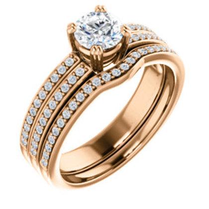 14K Rose Gold 5.2mm Round Engagement Ring Mounting