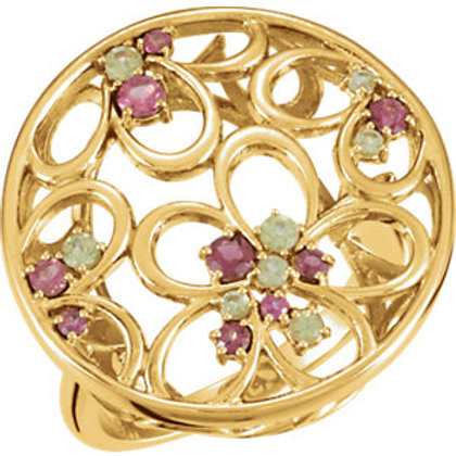 14K Yellow Pink Tourmaline & Peridot Floral-Inspired Ring