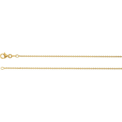"Sterling Silver Plated with 18K Yellow 1.4mm Cable 16"" Chain"