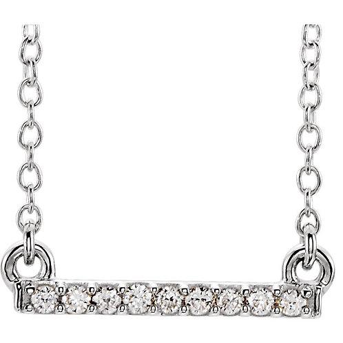 "14K White .07 CTW Petite Diamond Bar 16-18"" Necklace"