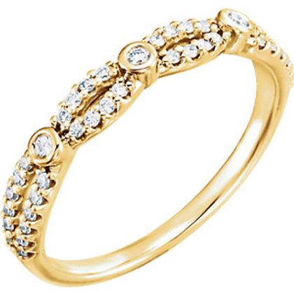 14K Yellow 1/4 CTW Diamond Band