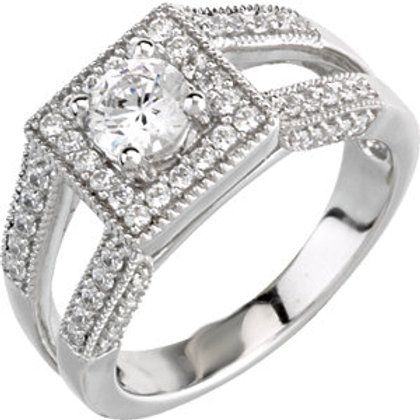 14K White 3/4 CTW Diamond Semi-set Engagement Ring for 4.4mm Round Center