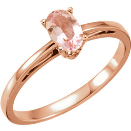 14K Rose Gold 6x4mm Morganite Ring
