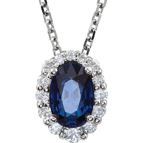 "14K White Blue Sapphire & 1/6 CTW Diamond 18"" Necklace"