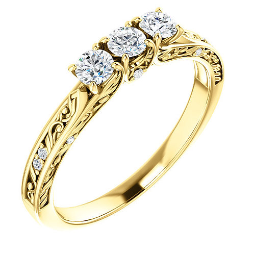 14K Yellow Gold  1/3 CTW Diamond Anniversary Ring