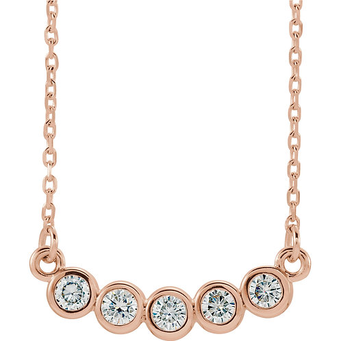 14K Rose Gold 2.5mm Round Moissanite Necklace