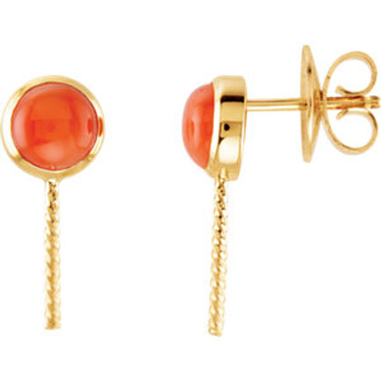 14K Yellow Coral Semi-set Earrings for Pearls