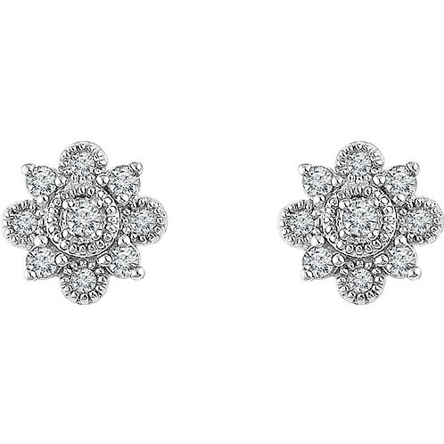Vintage-Inspired Halo-Style 1/5 CTW Diamond Earrings
