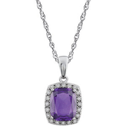 14K White Amethyst & .05 CTW Diamond Necklace