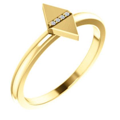 14K Yellow .01 CTW Diamond Geometric Ring