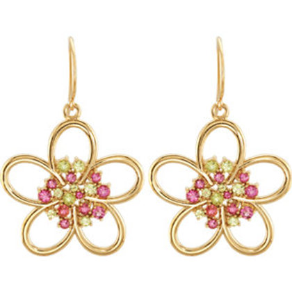 14K Yellow Peridot & Pink Tourmaline Flower Earrings