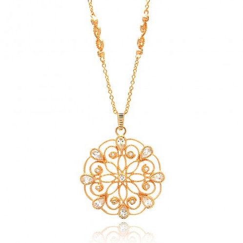 Sterling Silver Rose Gold Plated Open Circle Flower Design CZ Necklace