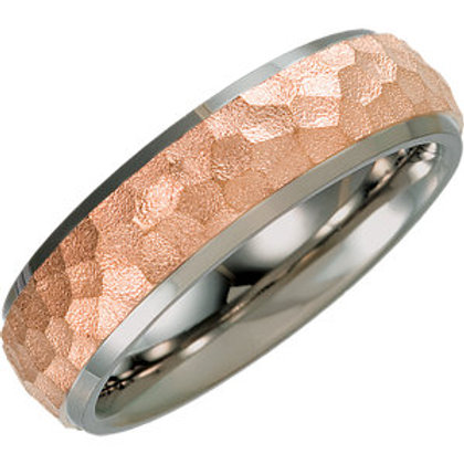 Titanium & Rose Immerse Plated 7mm Hammered Beveled Edge Band