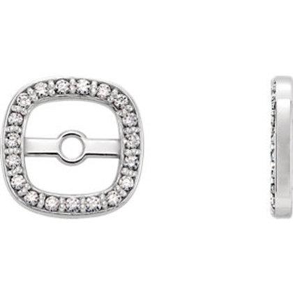 14K White .08 CTW Diamond Earring Jackets