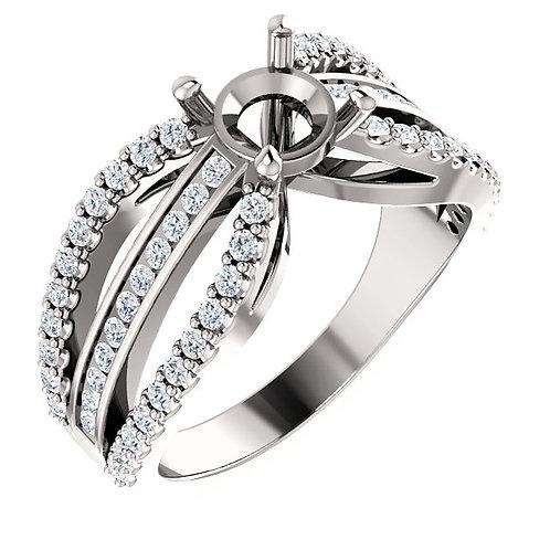 14K White Gold 6.5mm Round 1/2 CTW Diamond Semi-set Engagement Ring