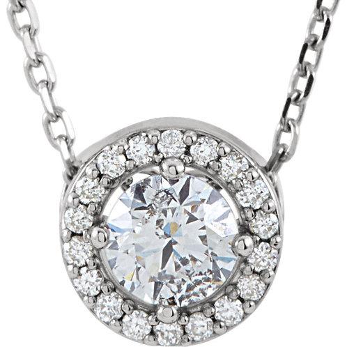 "14K White 1/3 CTW Diamond Halo-Style 16"" Necklace"