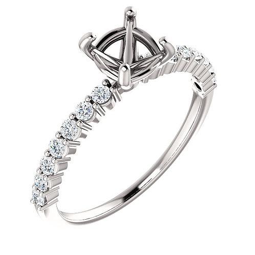 14K White Gold 6.5mm Round 1/4 CTW Diamond Semi-set Engagement Ring