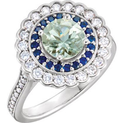 Platinum Green Quartz, Blue Sapphire & 1/2 CTW Diamond Engagement Ring