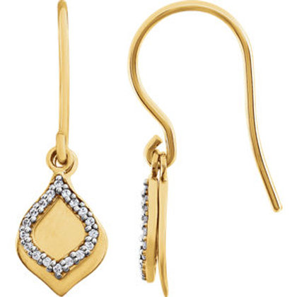 14K Yellow 1/10 CTW Diamond Earrings