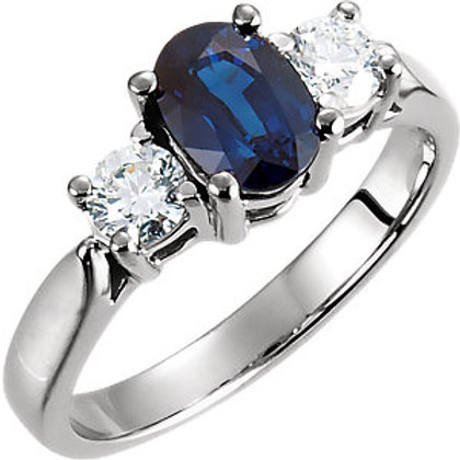 Platinum Sapphire & 3/8 CTW Diamond Engagement Ring