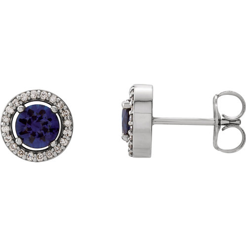 14K White Blue Sapphire & 1/10 CTW Diamond Earrings