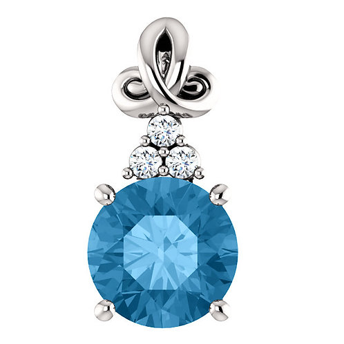 14K White Blue Topaz and .03 CTW Diamond Pendant