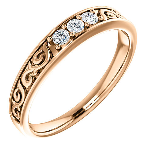 14K Rose Gold 1/5 CTW Diamond Men's Band