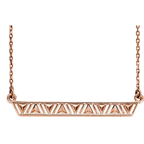 14K Rose Triangle Bar 16' Necklace