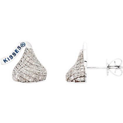 14K White HERSHEY'S KISSES Flat Back 1/2 CTW Diamond Stud Earrings