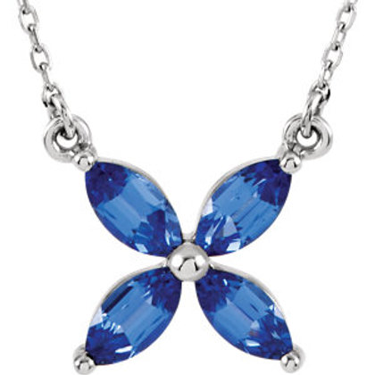 """14K White Chatham® Created Blue Sapphire 16"""" Necklace"""