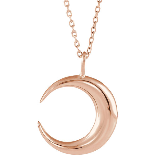 14K Rose Gold Moon Necklace