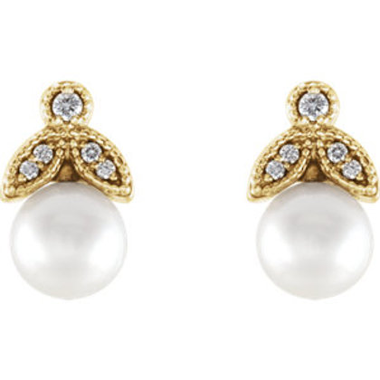 14K Yellow White Freshwater Pearl & .07 CTW Diamond Earrings
