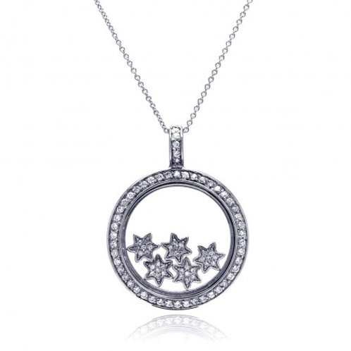 Sterling Silver Clear CZ Rhodium Plated Inner Stars Pendant Necklace