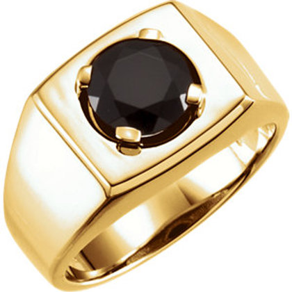 14K White 8.2mm Round Onyx Men's Ring