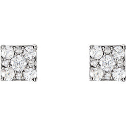14K White Gold 1/3 CTW Diamond Square Cluster Earrings