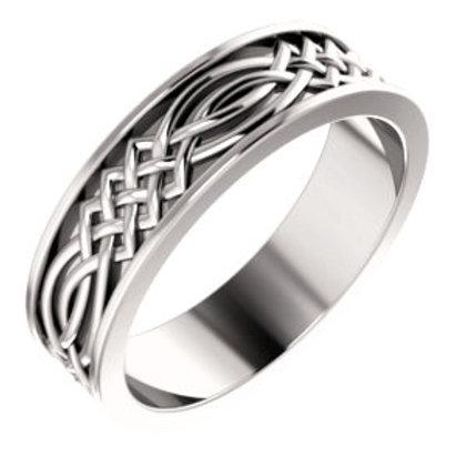 14K White Gold Celtic-Inspired Wedding Band