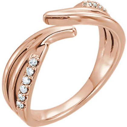 14K Rose 1/6 CTW Diamond Bypass Ring