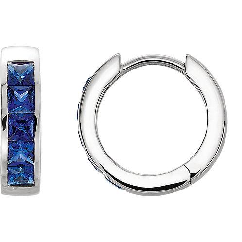 14K White Chatham® Created Blue Sapphire Hoop Earrings