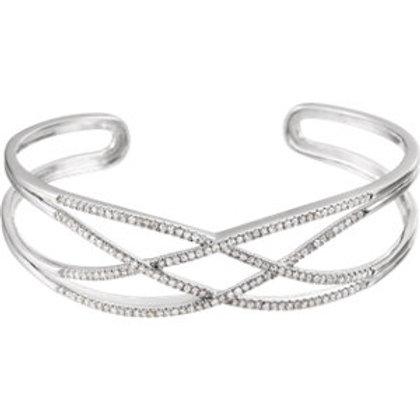 Accented Criss Cross Cuff Bracelet