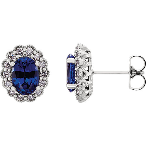 14K White Chatham Created Blue Sapphire & 3/8 CTW Diamond Earrings