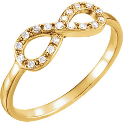 14K Yellow 1/8 CTW Diamond Infinity-Inspired Ring