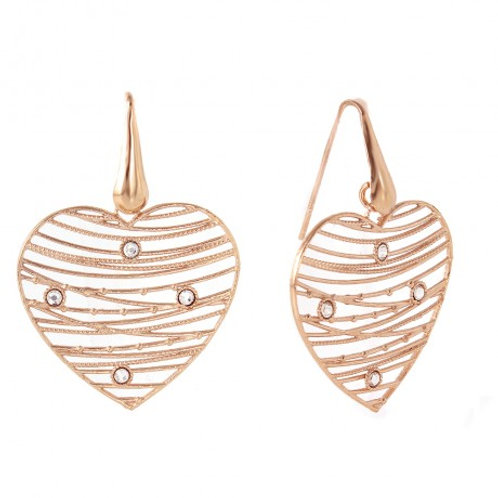 Sterling Silver Rose Gold Plated Open Web Heart Earring