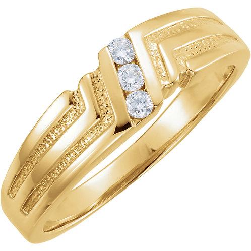14K Yellow .06 CTW Diamond Men's 3 Stone Band