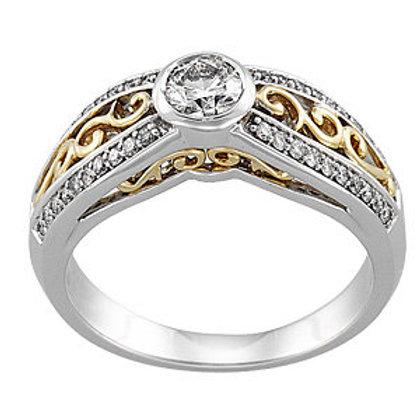 Bezel Set Accented Engagement Ring