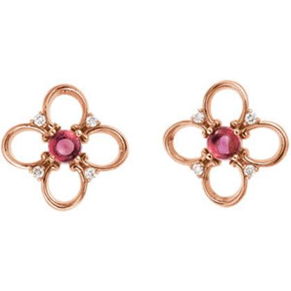 14K Rose Pink Tourmaline & .04 CTW Diamond Earrings