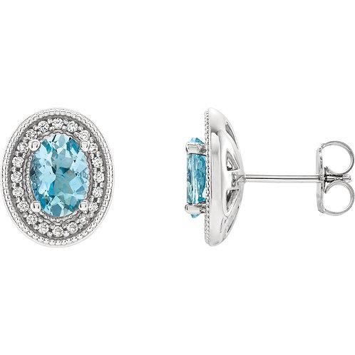 14K White Aquamarine & 1/5 CTW Diamond Halo-Style Earrings