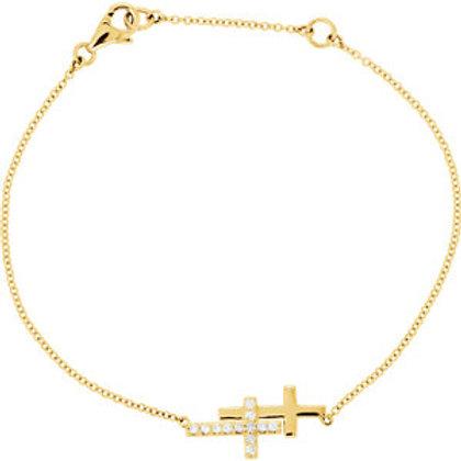 "14K Yellow 1/6 CTW Diamond Double Sideways Cross 8"" Bracelet"
