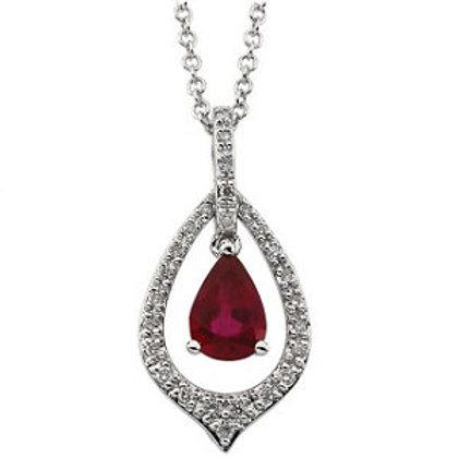 14K White Ruby & 1/6 CTW Diamond Necklace