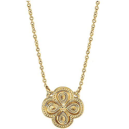 """14K Yellow Gold 18"""" Clover Necklace"""